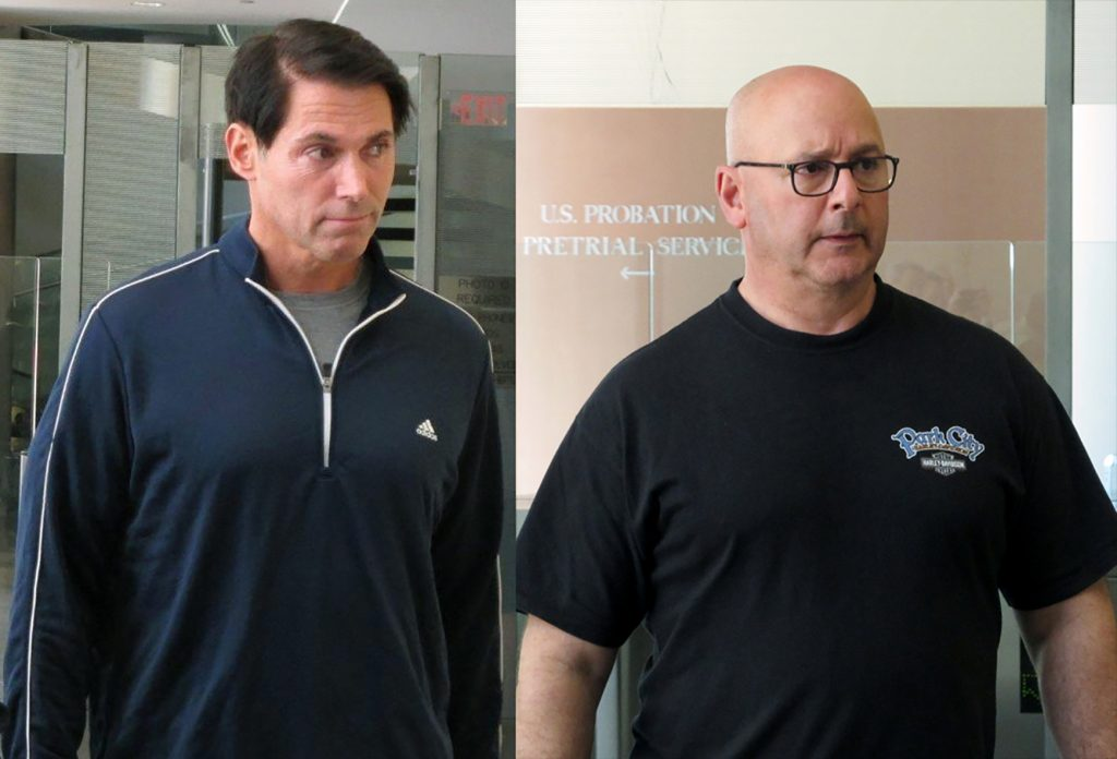 This composite image shows Michael Laipple (L) and Louis Ciminelli leaving U.S. District Court in Buffalo, N.Y., last Thursday. (AP Photo/Carolyn Thompson)