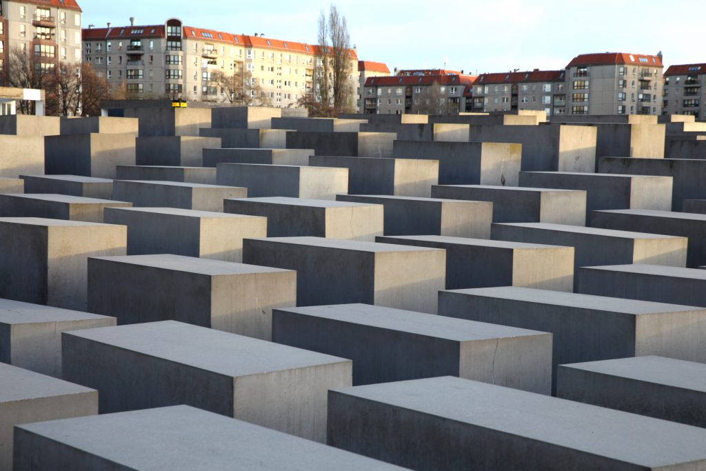 A partial view of the memorial to the Jews murdered in the Holocaust in WWII, in Berlin, Germany. (Liron Almog/Flash90)