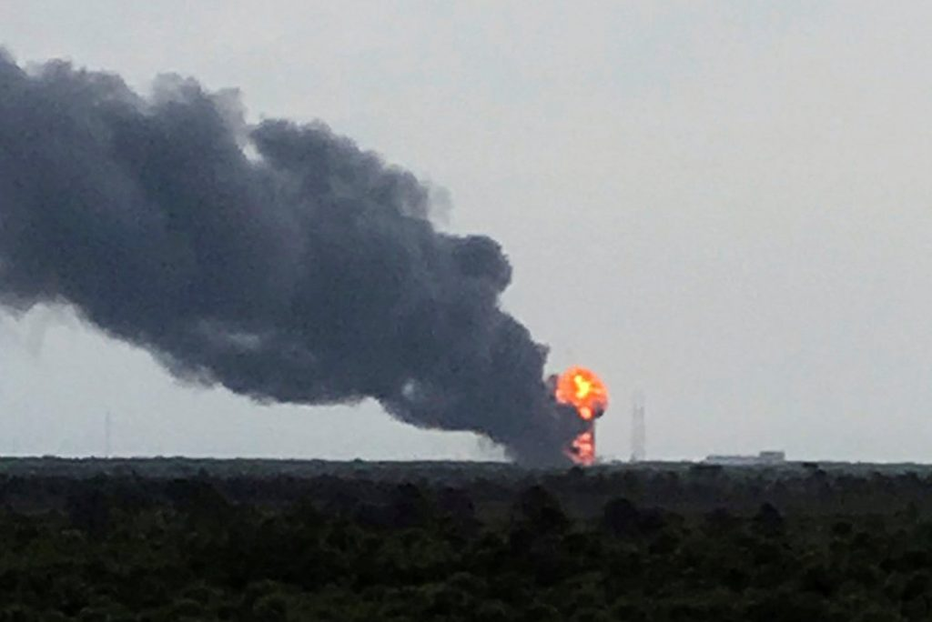 An explosion on the launch site of a SpaceX Falcon 9 rocket is shown in Cape Canaveral, Florida September 1, 2016. Courtesy of Twitter.com/GirlieToNerdy/Handout via REUTERS ATTENTION EDITORS - THIS IMAGE WAS PROVIDED BY A THIRD PARTY. THIS PICTURE WAS PROCESSED BY REUTERS TO ENHANCE QUALITY. AN UNPROCESSED VERSION HAS BEEN PROVIDED SEPARATELY. EDITORIAL USE ONLY. NO RESALES. NO ARCHIVE. TPX IMAGES OF THE DAY