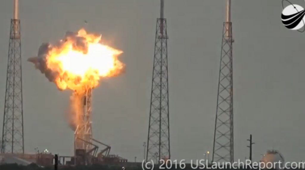 An explosion on the launch site of a SpaceX Falcon 9 rocket is shown in this still image from video in Cape Canaveral, Florida, U.S. September 1, 2016. U.S. Launch Report/Handout via REUTERS ATTENTION EDITORS - THIS IMAGE WAS PROVIDED BY A THIRD PARTY. EDITORIAL USE ONLY. NO RESALES. NO ARCHIVE. MANDATORY CREDIT. TPX IMAGES OF THE DAY