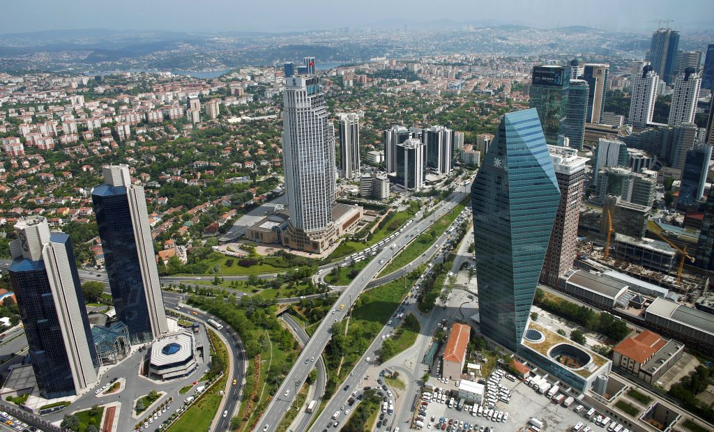 Bussiness and financial district of Levent, which comprises leading Turkish companies' headquarters and popular shopping malls, is seen from the Sapphire Tower in Istanbul, Turkey May 3, 2016. Picture taken through a window. REUTERS/Murad Sezer/File Photo