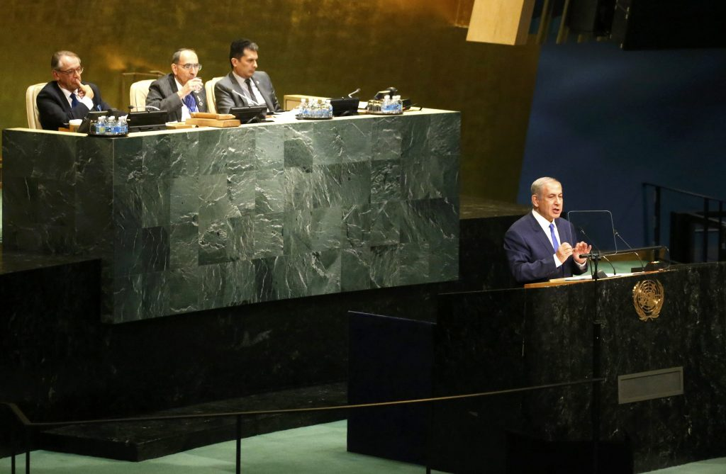 Prime Minister Benjamin Netanyahu of Israel addresses the United Nations General Assembly in the Manhattan borough of New York, U.S., September 22, 2016. REUTERS/Carlo Allegri