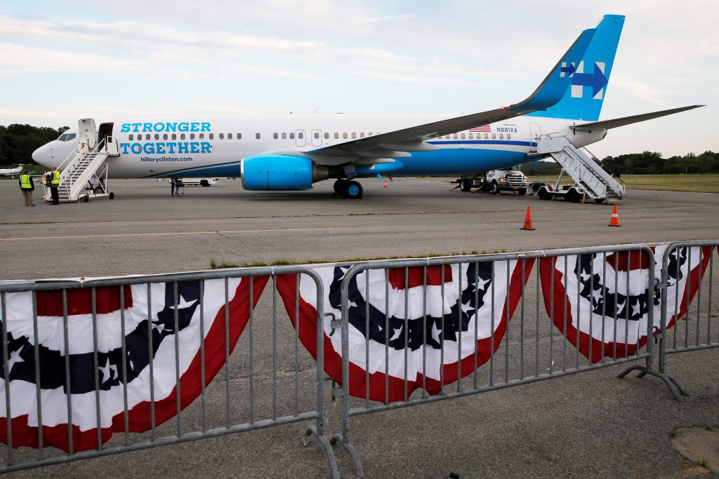 U.S. Democratic presidential candidate Hillary Clinton's newly unveiled campaign plane sits on the tarmac at the Westchester County Airport in White Plains, New York, United States September 5, 2016. REUTERS/Brian Snyder TPX IMAGES OF THE DAY