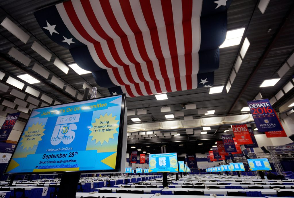 The media center for the first U.S. presidential debate is seen at Hofstra University in Hempstead, New York, U.S. September 24, 2016. REUTERS/Rick Wilking
