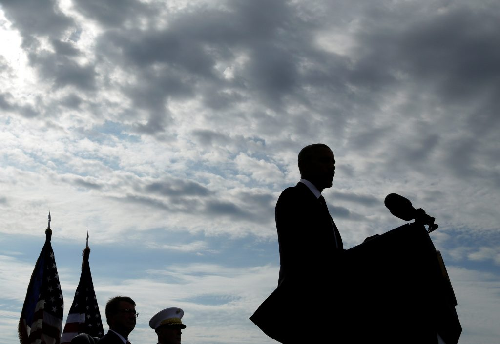 U.S. President Barack Obama speaks during a ceremony marking the 15th anniversary of the 9/11 attacks at the Pentagon in Washington, U.S., September 11, 2016. REUTERS/Joshua Roberts