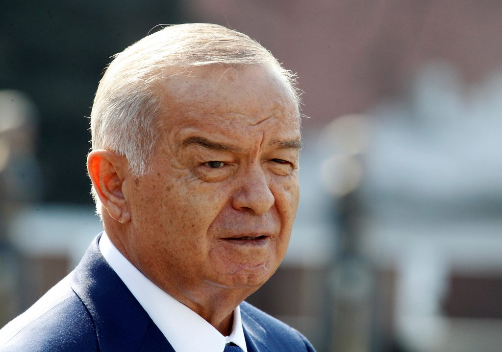 FILE PHOTO - Uzbek President Islam Karimov leaves after a wreath laying ceremony at the Tomb of the Unknown Soldier near Moscow's Kremlin walls, April 15, 2013. REUTERS/Grigory Dukor/File Photo