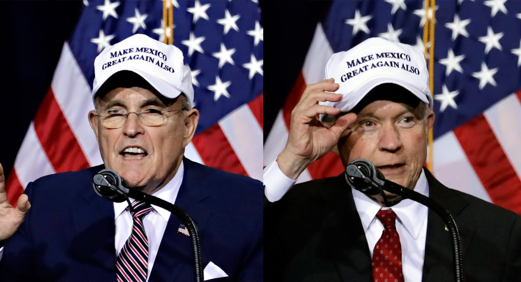 "In this composite image, former New York City Mayor Rudy Giuliani (L), and U.S. Sen. Jeff Sessions, R-Ala., wear ""Make Mexico Great Again Also"" hats prior to Donald Trump's speech during a campaign rally at the Phoenix Convention Center on Wednesday. (AP Photo/Matt York)"