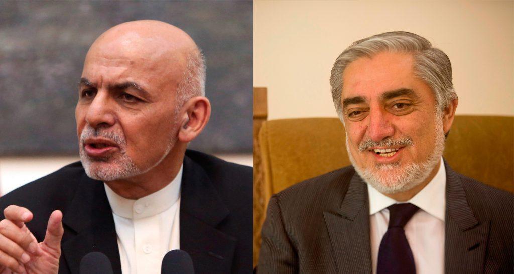 This composite image shows Afghan President Ashraf Ghani (L) and Chief Executive Abdullah Abdullah. (AP Photo/Rahmat Gul/Massoud Hossaini)