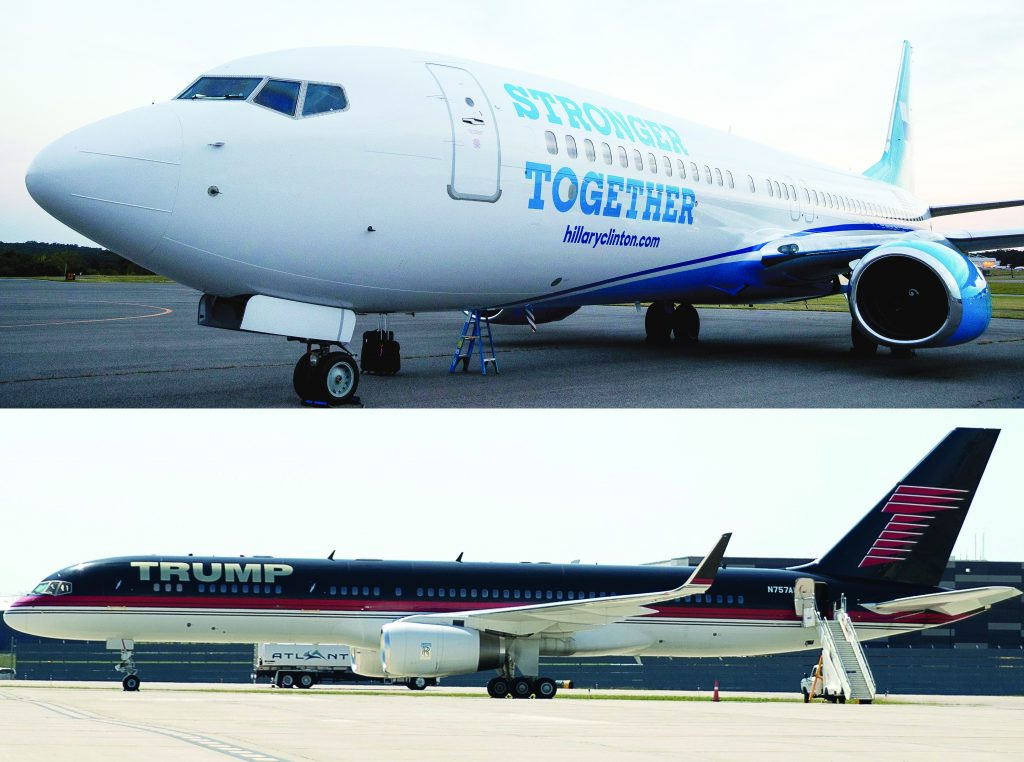 This composite image shows (top) Hillary Clinton's plane sitting on the tarmac at the Westchester County Airport in White Plains, N.Y., ; and Donald Trump's plane on the tarmac at Cleveland Hopkins International Airport. (AP Photo/Andrew Harnik)