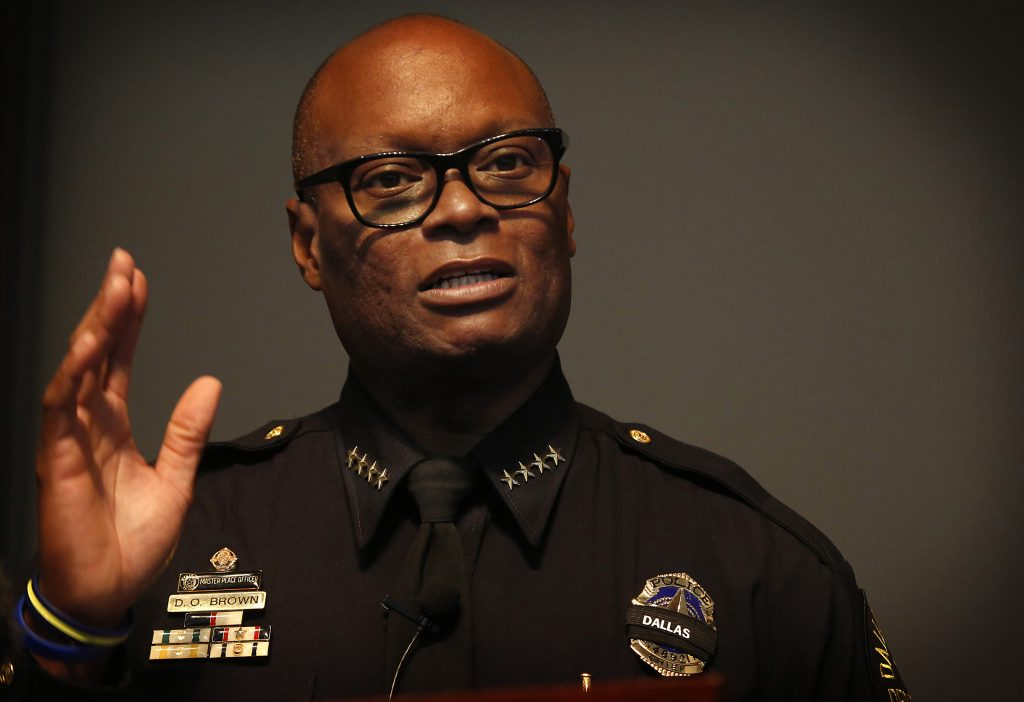 Dallas Police Chief David Brown speaking during a press conference at DPD headquarters on July 11. (Barbara Davidson/Los Angeles Times/TNS)