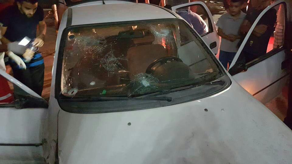 The smashed windshield in Shuafat overnight Sunday. (Police Spokesman)