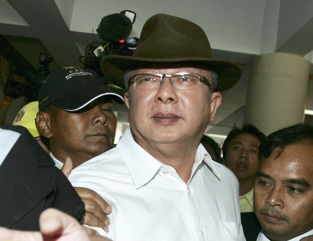 In this 2008 photo, Sondhi Limthongkul, founder of Thailand's People's Alliance for Democracy, arrives at the metropolitan police headquarters in Bangkok, Thailand. (AP Photo/Sakchai Lalit, File)