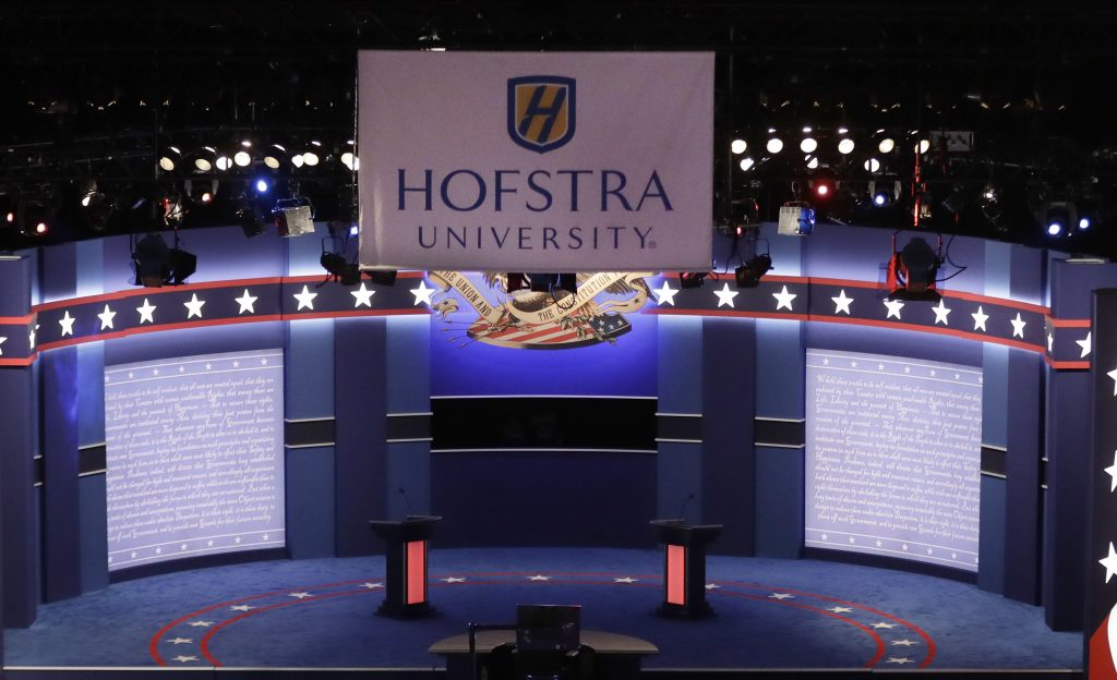 The stage set Monday evening for the presidential debate at Hofstra University in Hempstead, N.Y. (AP Photo/David Goldman)