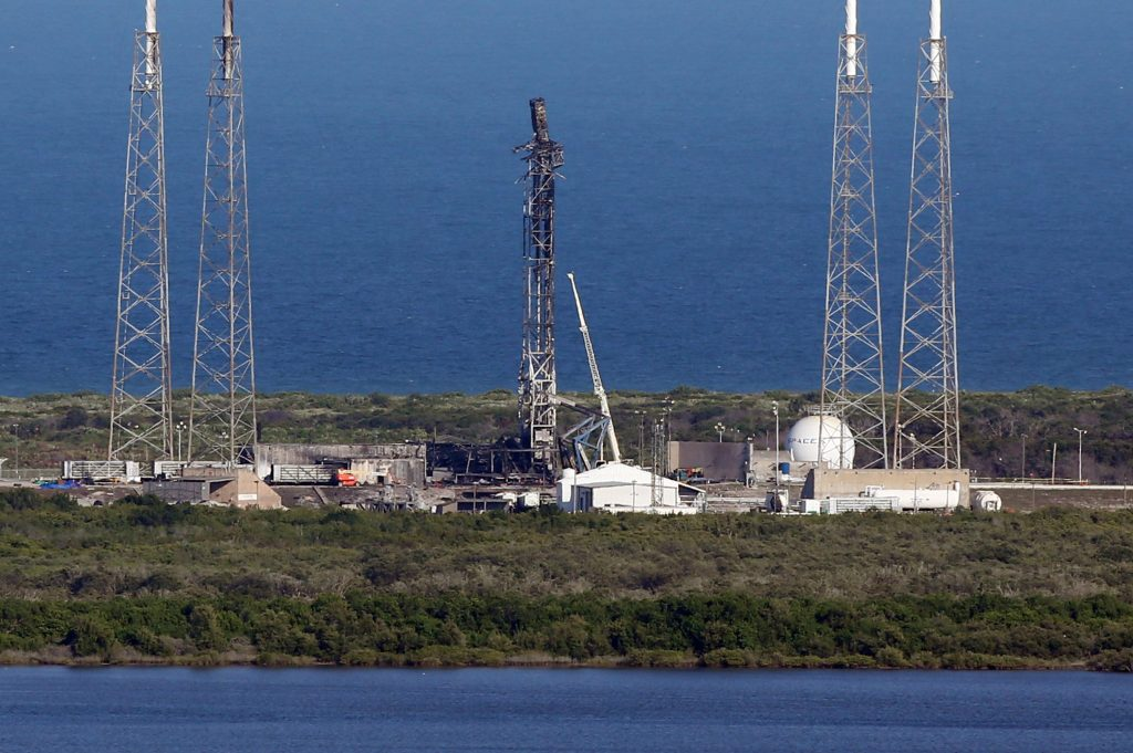 The damaged SpaceX launch complex 41 at Cape Canaveral Air Force Station in Florida is seen on Thursday Sept. 8, one week after the explosion. (Red Huber/Florida Today via AP)
