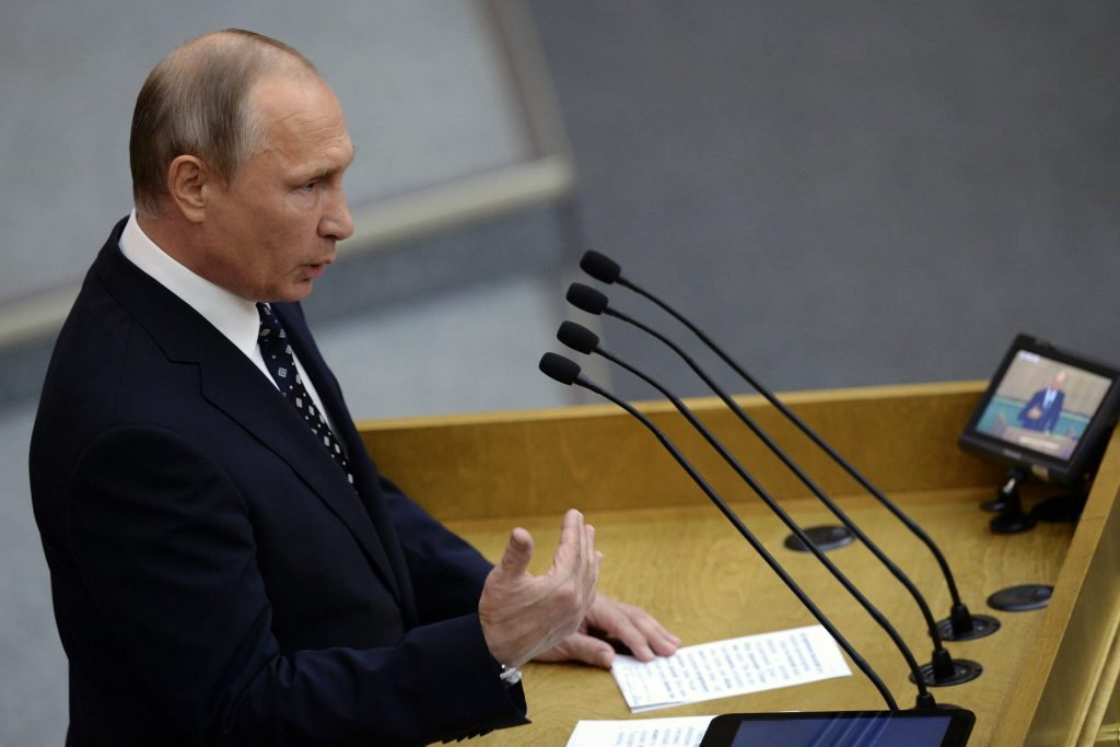 Russian President Vladimir Putin delivers a speech in Moscow, Russia, October 5. (Natalia Kolesnikova/Reuters/Pool)