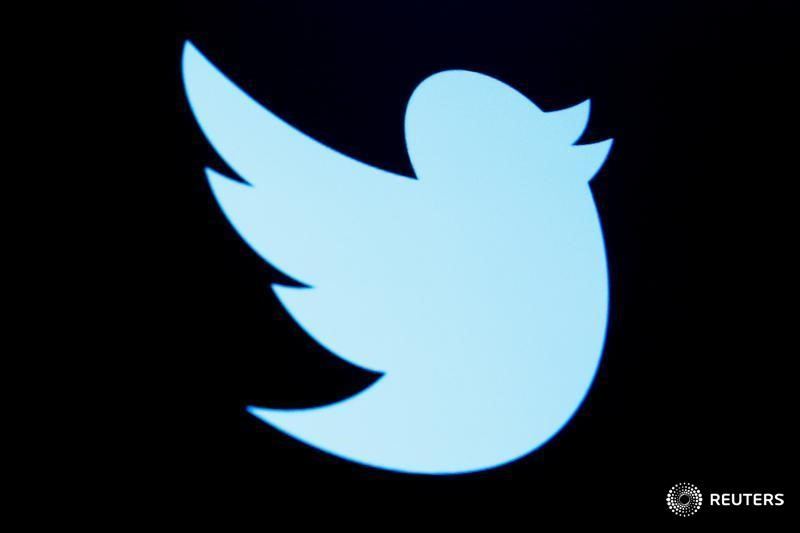 The Twitter logo is displayed on a screen on the floor of the New York Stock Exchange. (Reuters/Brendan McDermid/File)