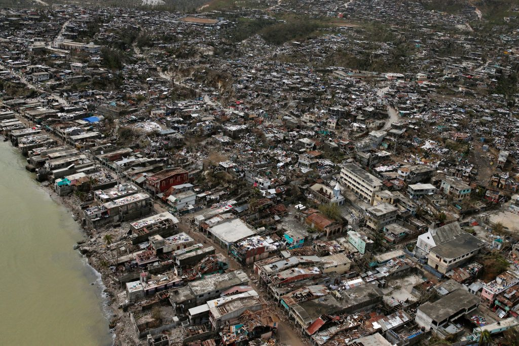 Destroyed houses are seen after Hurricane Matthew hit Jeremie, Haiti, October 6. (Carlos Garcia/Reuters)
