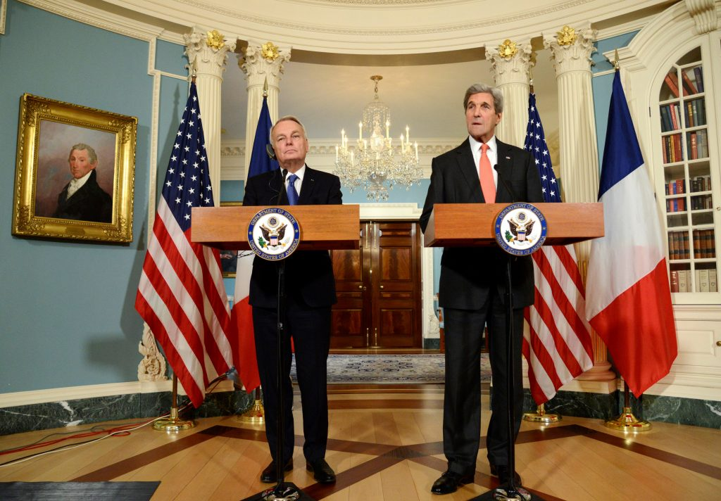 U.S. Secretary of State John Kerry (R) and French Foreign Minister Jean-Marc Ayrault at the U.S. State Department on Friday. (Reuters/Mike Theiler)