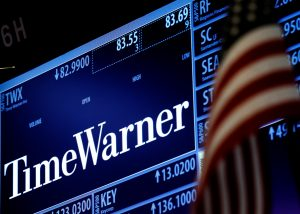 The Time Warner post on the floor of the New York Stock Exchange on Friday. (Reuters/Brendan McDermid)
