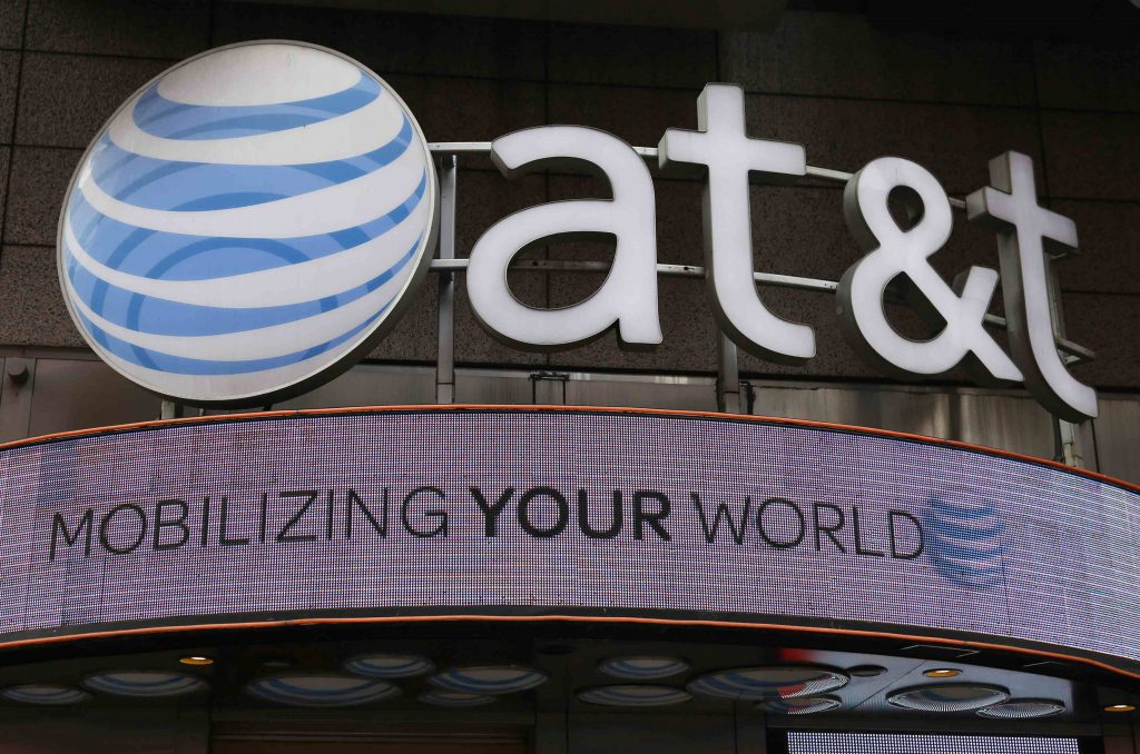 Signage for an AT&T store is seen in New York. (Shannon Stapleton/Reuters/File Photo)