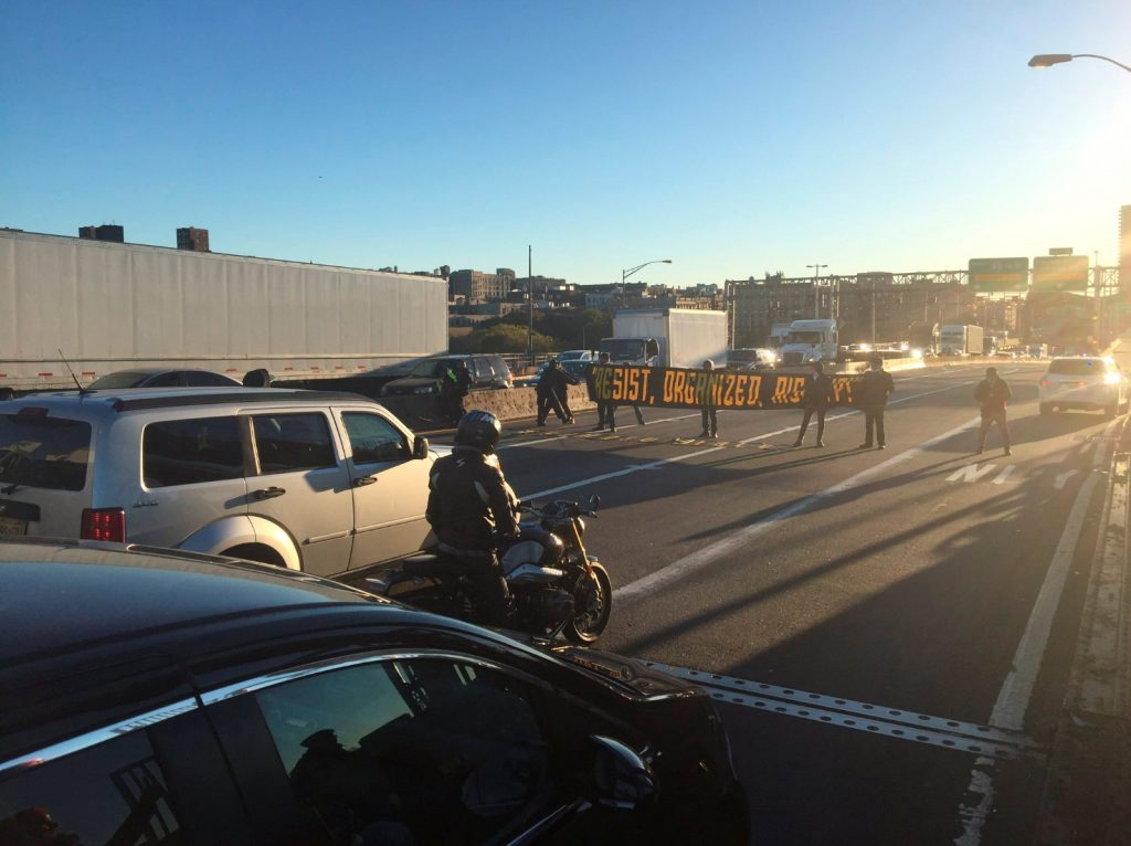 Protesters blocking lanes on the George Washington Bridge Wednesday morning. (Tidal Magazine/#decolonizethisplace/Handout via Reuters)
