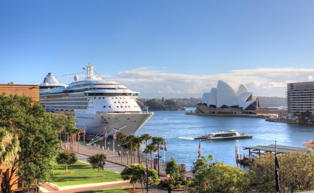 Royal Carribean Cruise Liner Radiance of the Seas docked at Circular Quay in Sydney.