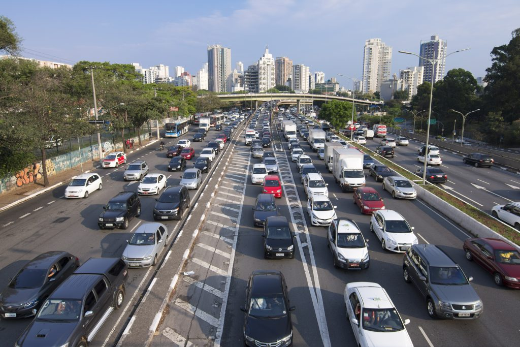 Traffic on Avenida 23 de Maio during afternoon rush hour in Sao Paulo, Brazil.