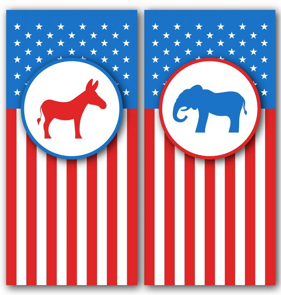 Banners with Donkey and Elephant as a Symbols Vote of USA. United States Political Parties