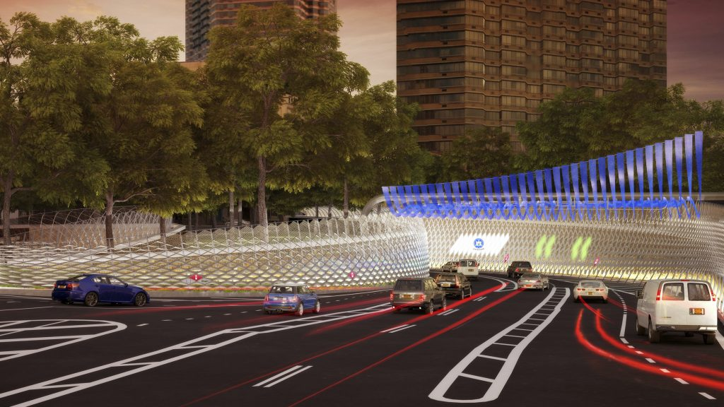 In this artist rendering provided by the office of New York Gov. Andrew Cuomo, cars approach a fully-automated toll system at the entrance to New York's Queens-Midtown Tunnel in Manhattan. (NY Governor's Office via AP)