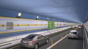 In this artist rendering provided by the office of New York Gov. Andrew Cuomo, vehicles drive through New York's Queens-Midtown Tunnel tiled with blue and gold - the colors of the Empire State. (NY Governor's Office via AP)