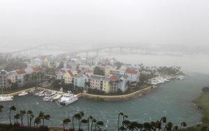 Hurricane Matthew moves through Paradise Island in Nassau, Bahamas, Thursday, Oct. 6, 2016. The head of the Bahamas National Emergency Management Authority, Capt. Stephen Russell, said there were many downed trees and power lines, but no reports of casualties. (AP Photo/Tim Aylen)