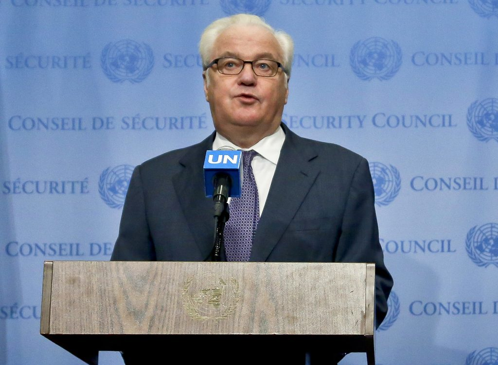 "In this Oct. 6, 2016, photo, Russian U.N. Ambassador Vitaly Churkin speaks at U.N. headquarters. Russia's government lodged a formal complaint in September with the United Nations over a top U.N. official's condemnations of Donald Trump and some European politicians, diplomats told The Associated Press. There is no evidence Trump sought Russia's assistance, or was even aware of the criticism by Zeid Ra'ad al-Hussein, the U.N. high commissioner for human rights. Churkin, Russia's ambassador to the United Nations, issued a verbal ""demarche"" to U.N. Secretary-General Ban Ki-moon in a private meeting on Sept. 13, according to three diplomats familiar with the conversation. (AP Photo/Bebeto Matthews)"