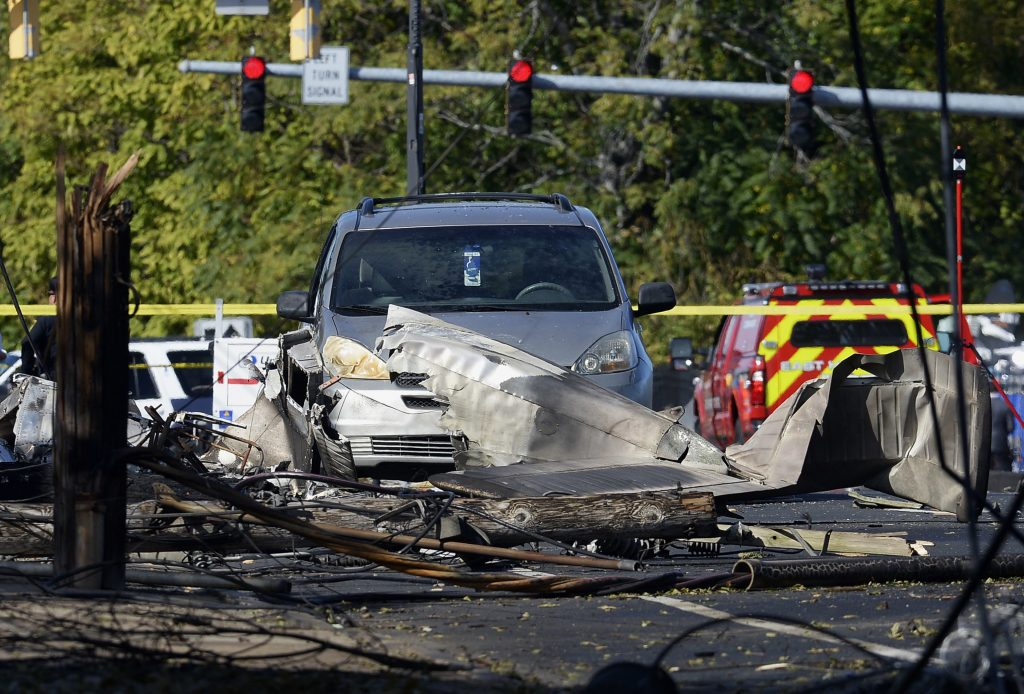 The aftermath of the plane crash in East Hartford, Conn. (AP Photo/Jessica Hill)