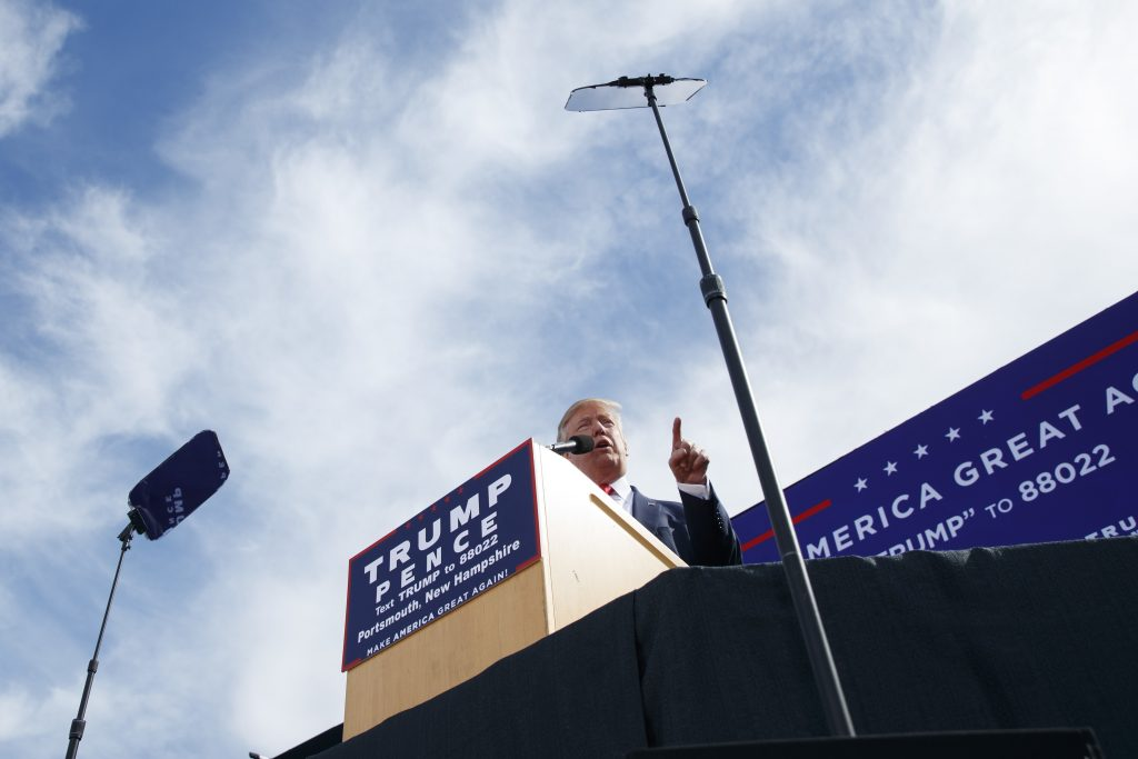 Republican presidential candidate Donald Trump speaks during a campaign rally, Saturday, Oct. 15, 2016, in Portsmouth, N.H. (AP Photo/ Evan Vucci)