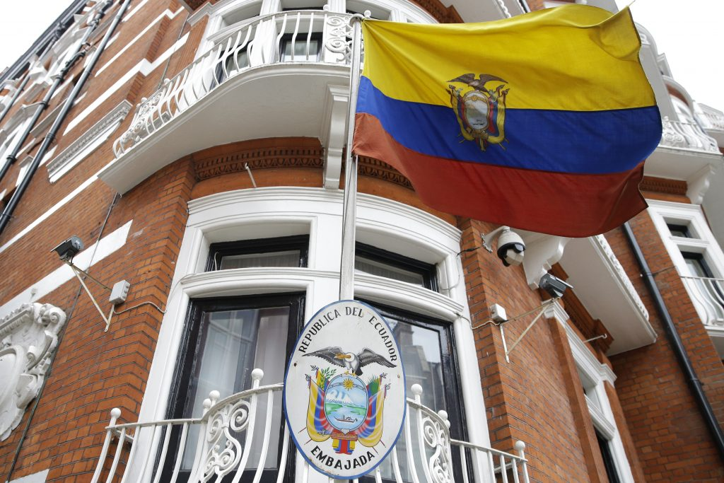 The Ecuadorian national flag flies outside their London Embassy. (AP Photo/Alastair Grant)
