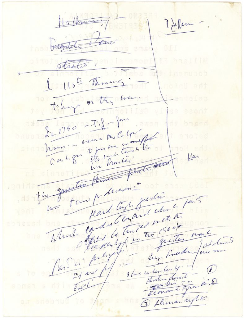"==John F. Kennedy's scribbled notes for a 1960 campaign speech referencing his famous campaign slogan ""The New Frontier."" (Lion Heart Autographs via AP, File)"