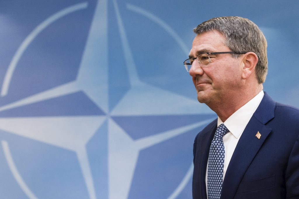 U.S. Secretary of Defense, Ash Carter arriving for a meeting of the North Atlantic Council Defense Ministers session at NATO headquarters in Brussels on Wednesday. (AP Photo/Geert Vanden Wijngaert)