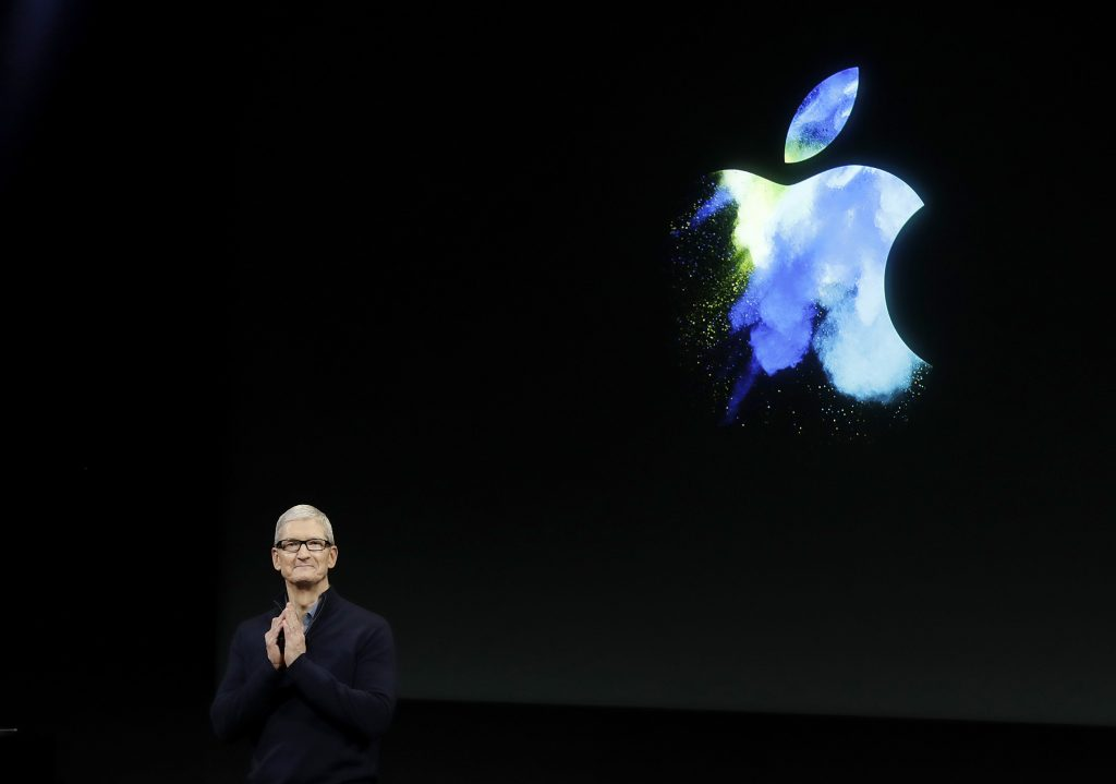 Apple CEO Tim Cook speaks during an announcement of new products in Cupertino, Calif., on Thursday. (AP Photo/Marcio Jose Sanchez)