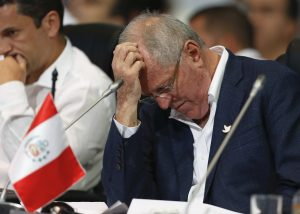 Peruvian President Pedro Pablo Kuczynski at the opening ceremony of the 25th Ibero-American Summit in Cartagena, Colombia, on Saturday. (AP Photo/Fernando Vergara)