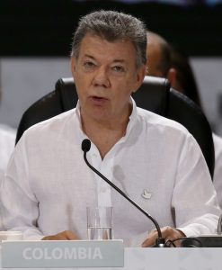 Colombian President Juan Manuel Santos at the opening ceremony of the 25th Ibero-American Summit in Cartagena, Colombia, on Saturday. (AP Photo/Fernando Vergara)