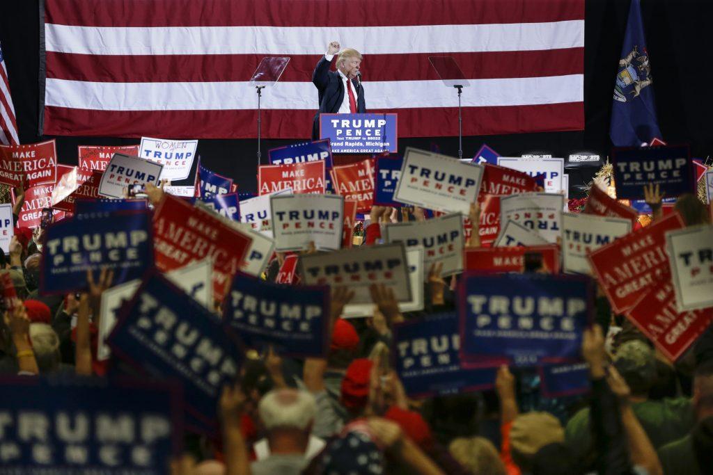 Donald Trump at a campaign rally in Grand Rapids, Mich., on Monday. (AP Photo/Nati Harnik)