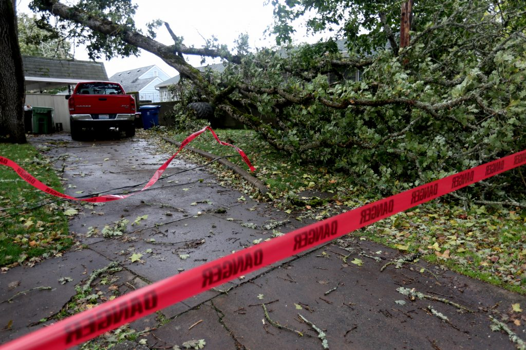 An intersection in Salem, Oregon, is closed after a tree knocked down power lines on Saturday. (Anna Reed/Statesman-Journal via AP)