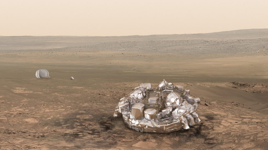 Artist impression of the Schiaparelli module on the surface of Mars provided by the European Space Agency, ESA. . On Wednesday Oct. 19, 2016 Schiaparelli will enter the martian atmosphere at an altitude of about 121 km and a speed of nearly 21 000 km/h. Less than six minutes later it will have landed on Mars. The probe will take images of Mars and conduct scientific measurements on the surface, but its main purpose is to test technology for a future European Mars rover. Schiaparelli's mother ship ,TGO, will remain in orbit to analyze gases in the Martian atmosphere to help answer whether there is or was life on Mars. (ESA/ATG-medialab via AP)