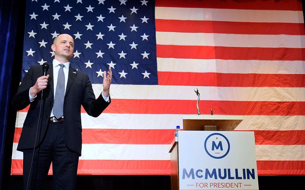 Evan McMullin speaks at a town-hall meeting in Logan, Utah, earlier this month. (Eli Lucero/The Herald Journal via AP)