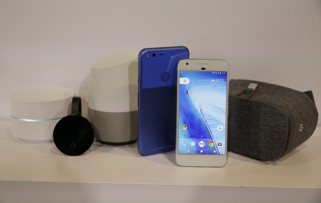 An assortment of Google's new products at an event in San Francisco on Tuesday. (AP Photo/Eric Risberg)