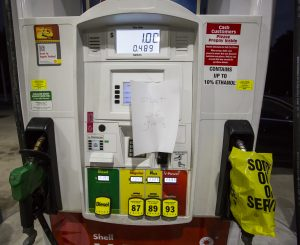 Pumps are empty at a gas station in Mt. Pleasant, S.C., on Tuesday. (AP Photo/Mic Smith)