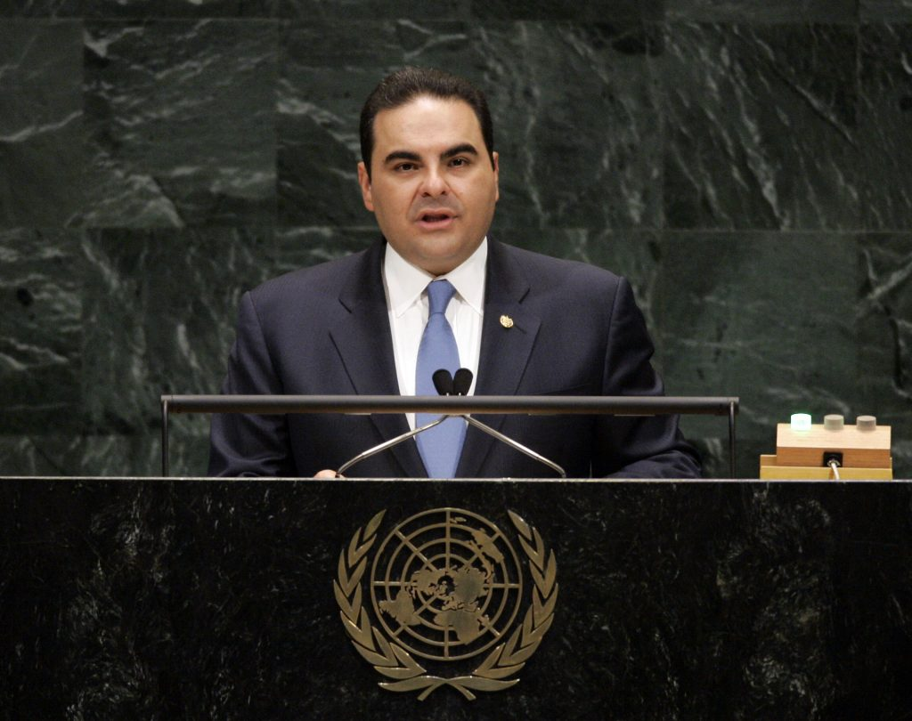 Elias Antonio Saca, then-President of El Salvador, addressing a session of the United Nations General Assembly in 2007. (AP Photo/Ed Betz)