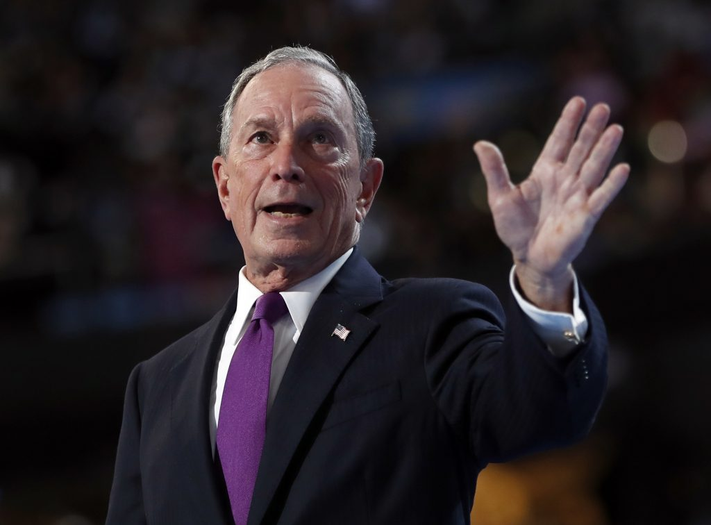 Former New York City Mayor Michael Bloomberg waves after speaking to delegates during the third day session of the Democratic National Convention. (AP Photo/Carolyn Kaster)