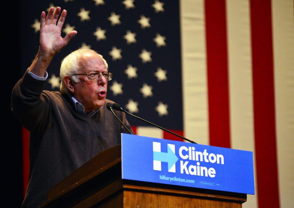 Sen. Bernie Sanders drums up support for Hillary Clinton at Keene State College in Keene, N.H., on Friday. (Kristopher Radder/The Brattleboro Reformer via AP)