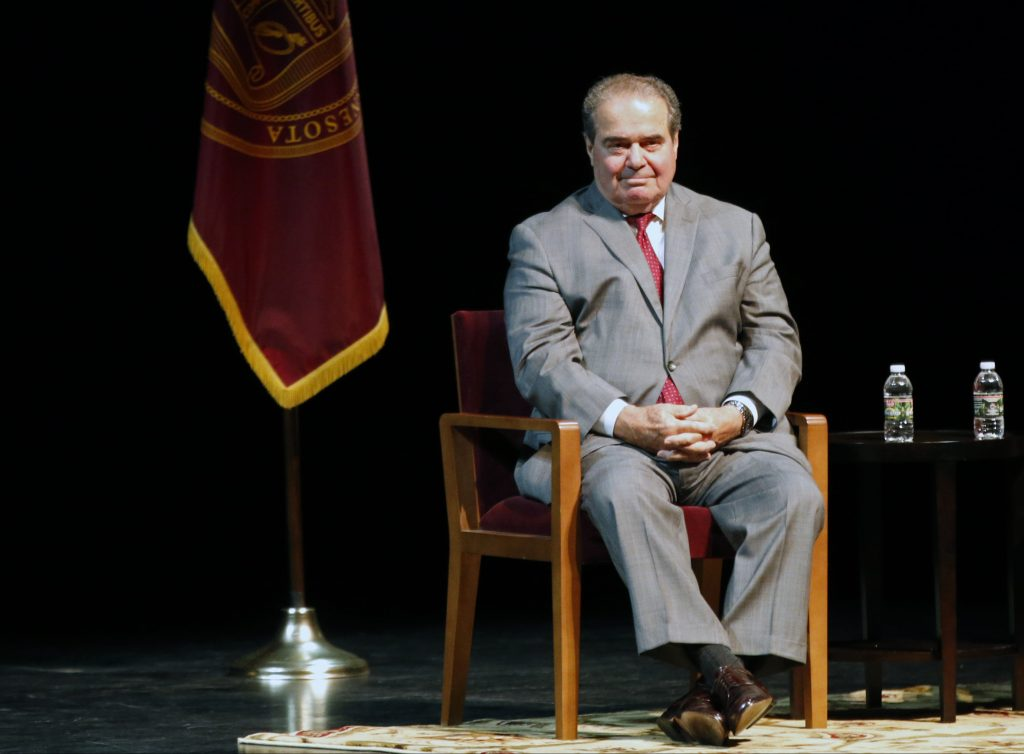 The late U.S. Supreme Court Justice Antonin Scalia, shown here at an event at the University of Minnesota Law School in 2015. (AP Photo/Jim Mone, File)
